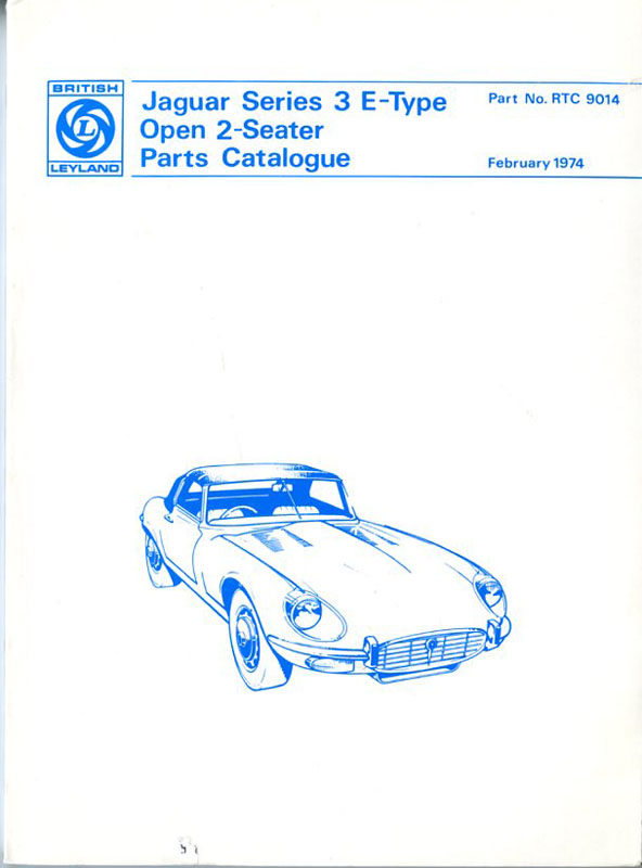 Jaguar serie 3 E-Type parts catalogue