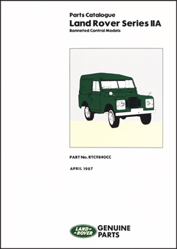 Land Rover Series 2A Bonneted Control Parts Catalogue