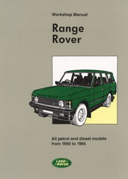 Range Rover Workshop Manual 1990-1994