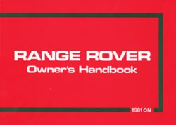 Range Rover Owners Handbook 1981 On
