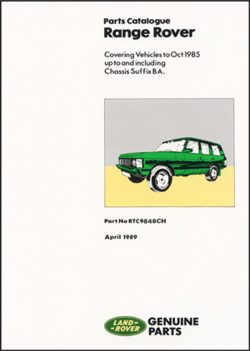 Range Rover Parts Catalogue 1970-1985