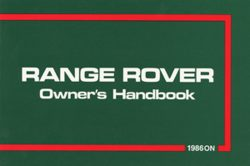 Range Rover Owners Handbook 1986 On