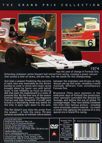 DVD Formula 1 1974 - Down to the last race